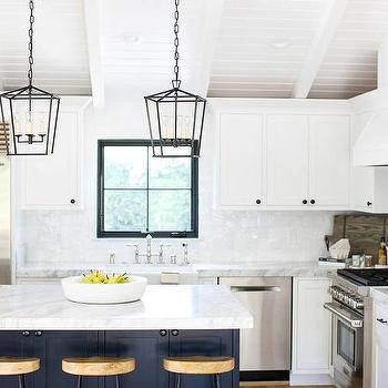 White L Shaped Kitchen With Blue Island  Coastal  Pinterest Mesmerizing L Shaped Kitchen Island Design Ideas