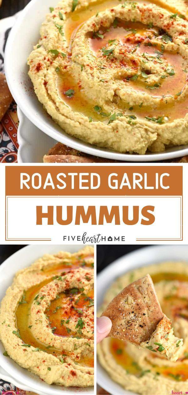 Roasted Garlic Hummus  A fresh, creamy, and easy Roasted Garlic Hummus recipe perfect with homemade