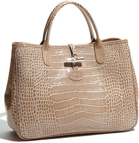 Longchamp Roseau croco | Bags, Tote outfit, Bag accessories