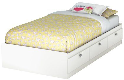 South Shore Sparkling Collection Twin (39'') Mates Bed - Pure White