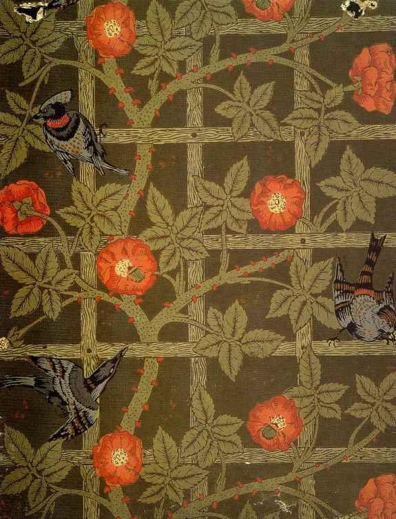 Pre Raphaelite Art William Morris Trellis Wallpaper