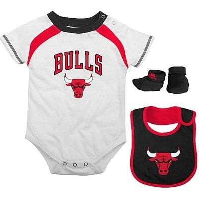 hot sale online 2aaec fd3ad adidas Chicago Bulls Infant 3-Piece Creeper, Bib and Bootie ...