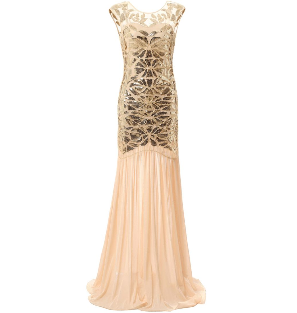 Vintage Evening Dresses Great Gatsby 1920s Dress Flapper Costume Long Prom Gowns