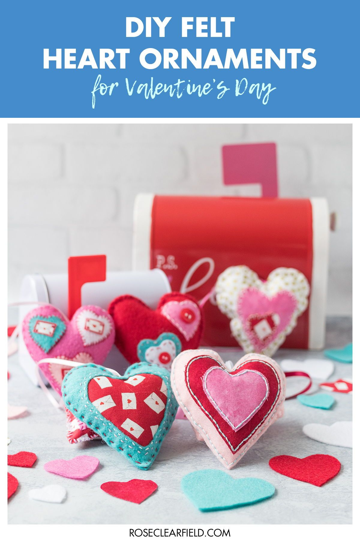 Diy Felt Heart Ornaments For Valentine S Day Valentines Day Cards Diy Valentine Day Crafts Diy Valentines Crafts