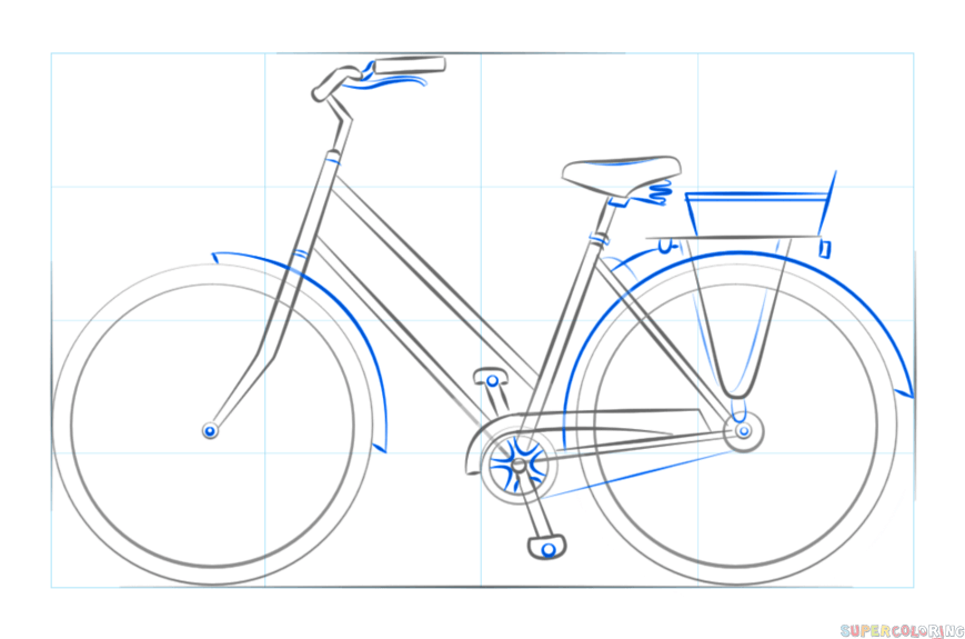 How To Draw A Bicycle Step By Step Drawing Tutorials For Kids And Beginners Bikeforbeginners Bike Drawing Drawing Tutorial Bike Sketch
