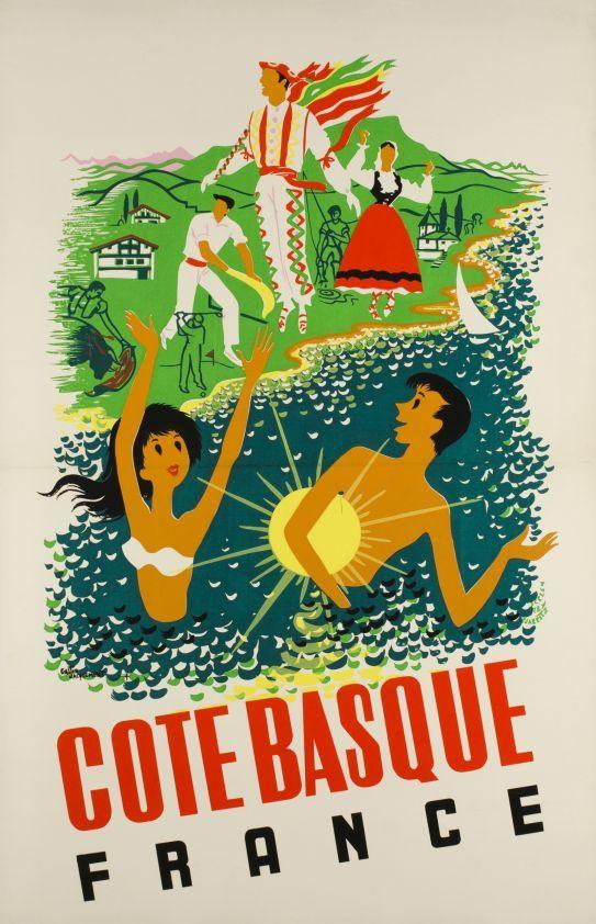 Cote Basque France By Jacquement Gaston 1960 Affiche De Voyage Vintage Les Affiches Francaises D Epoque Pays Basque