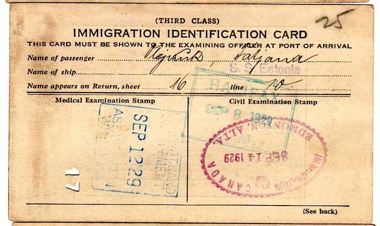 An Immigration Card Re An Arrival At Halifax Via Estonia From