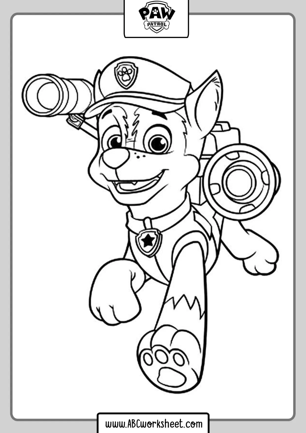 Paw Patrol Drawings To Coloring Chase Paw Patrol Coloring Pages Paw Patrol Coloring Cartoon Coloring Pages