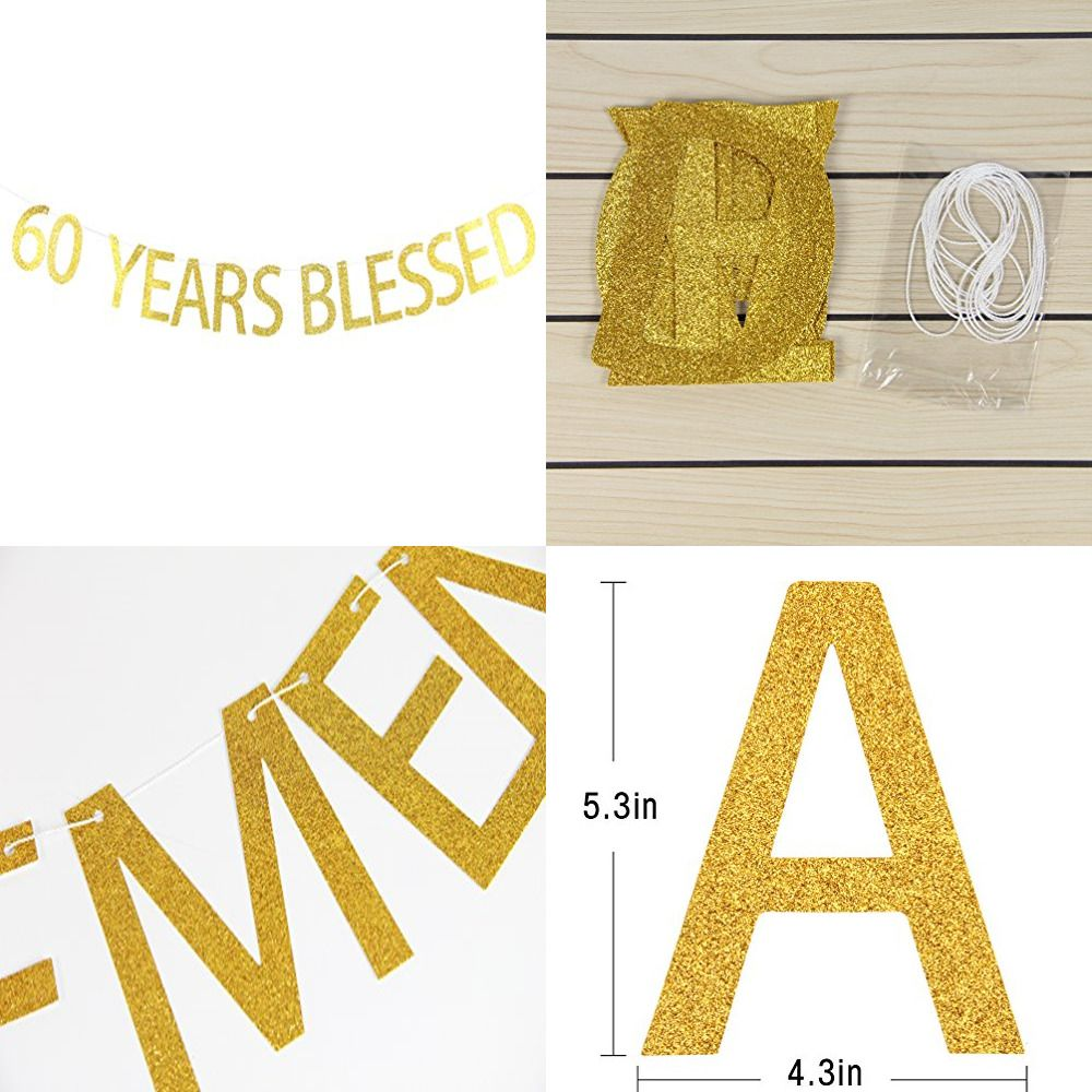 60 years blessed banner gold glitter sign 60th birthday