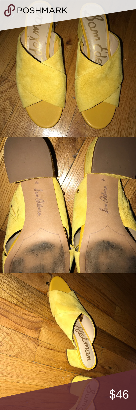 4061b07a725a93 Sam Edelman Stanley Block Heel Mule Sandal Worn one time. Sunset yellow  suede. Size 9.5. In great shape. Sam Edelman Shoes Mules   Clogs