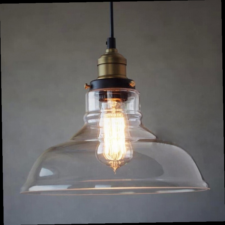 Glass Pendant With Retro Cloth Wire Clear Hanging Light Vintage Style Fabric Kitchen Island Ceiling Lamp Twisted Rayon Cord