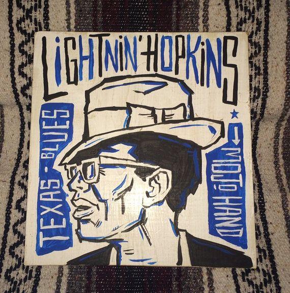 Blues Lightnin/' Hopkins Music Art Oil Portrait Painting Folk Art