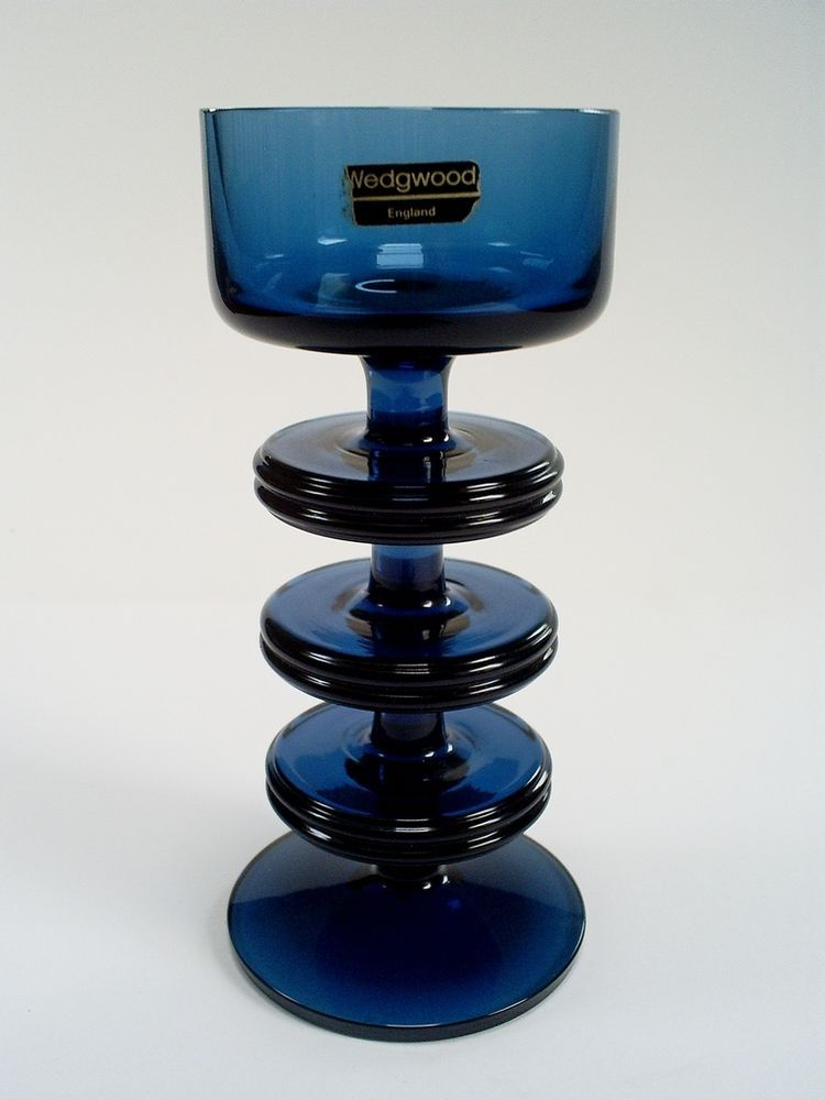 SUPERB WEDGWOOD RONALD STENNETT WILLSON BLUE GLASS 3 DISC SHERINGHAM CANDLESTICK