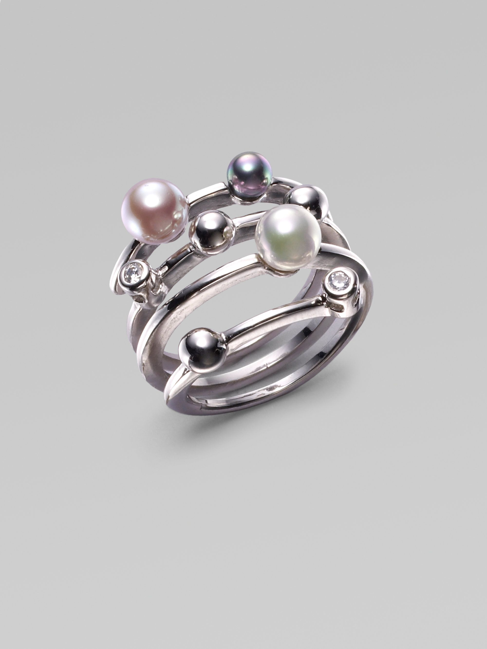 5b391b4b4 Majorica 3mm 5mm and 6mm Pearl and Sterling Silver Ring in Silver (pearl-silver)  | Lyst
