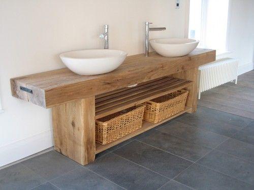 Oak Beam Double Sink Vanity Unit Ebay Wooden Bathroom Vanity