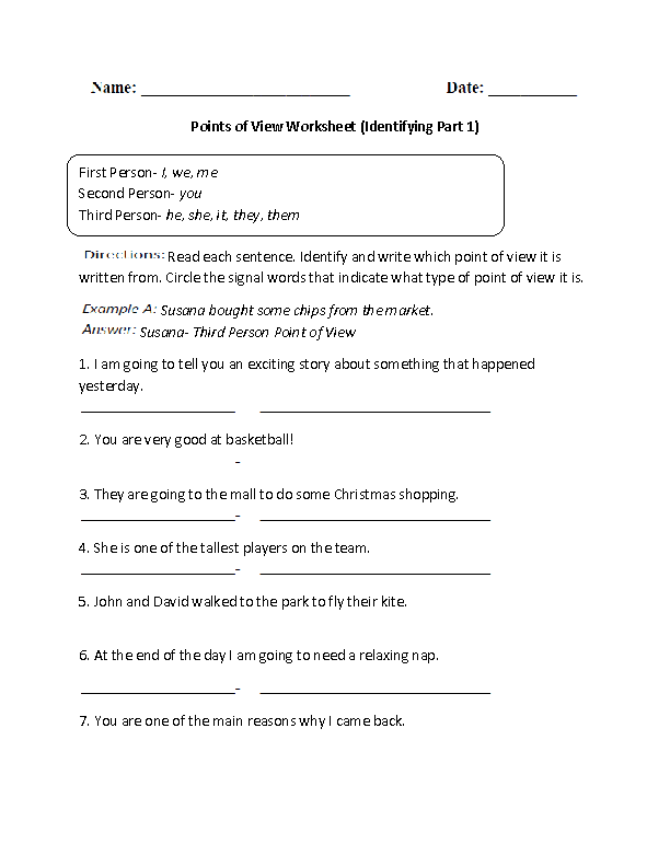 Identifying Point Of View Worksheet Part 1