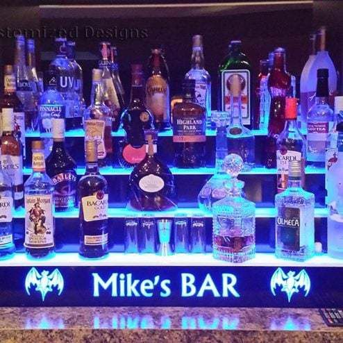 4 Tier Lighted Home Bar Shelves W Bacardi Bats