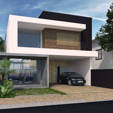 Fachada contempor nea projeto henrique zanluchi for Casas residenciales minimalistas