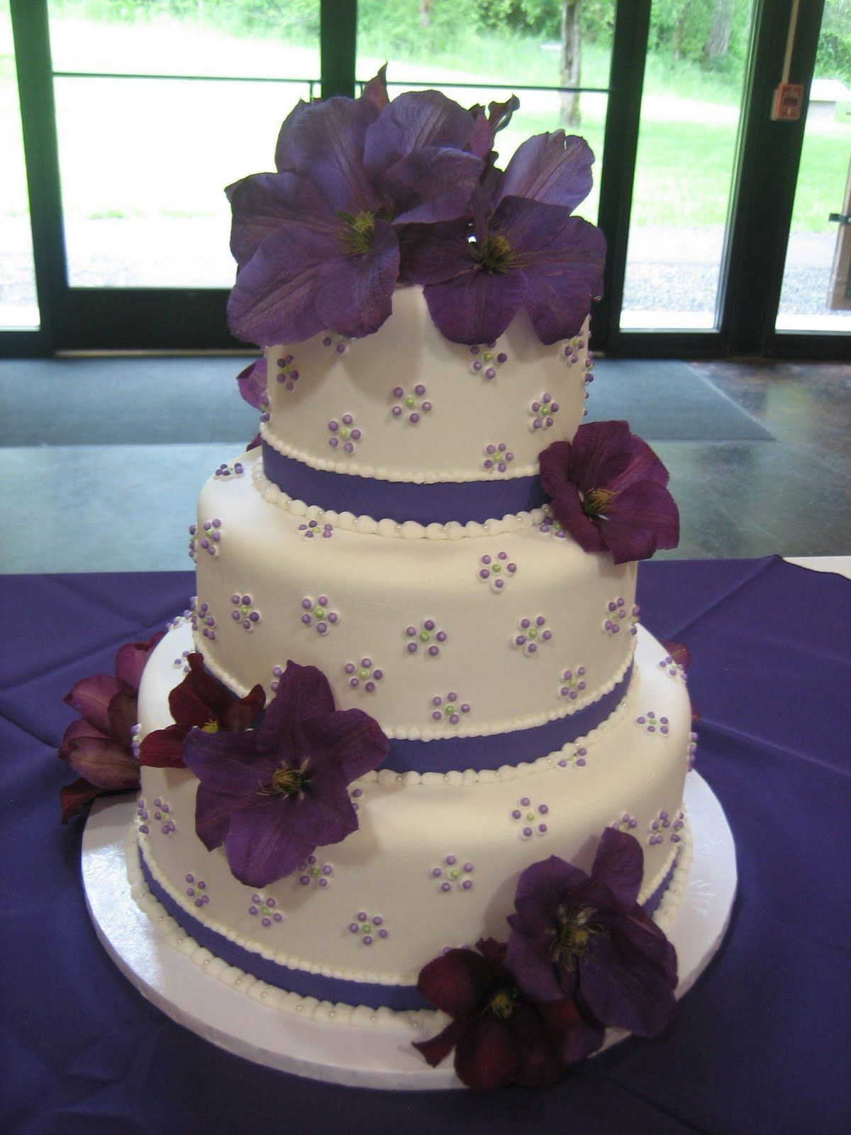 Wedding Cakes With Purple Flowers
