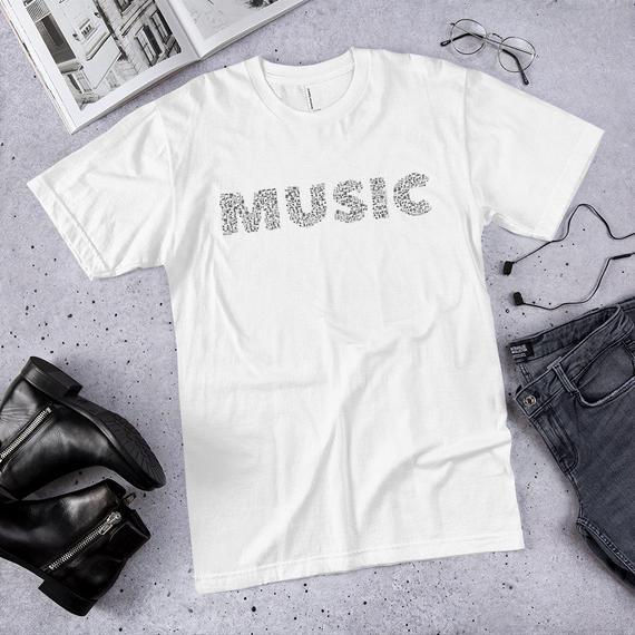 bb7baedbd25b music word shirt, music lover shirt., american apparel shirt, music speaks  -short sleeve Shirt