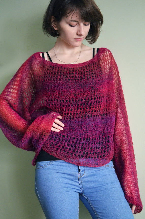 a26902be75 Loose knit mohair sweater Oversized cropped sweater jumper Bohemian clothing  Burgundy grunge fuzzy p