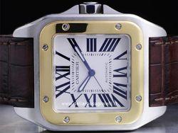 Cartier - Santos 100 W20072X7 Cassa: acciaio/oro - 51x41 mm Ghiera: oro giallo Vetro: zaffiro Quadrante: bianco - numeri romani Bracciale: pelle Chiusura: deployant Movimento: automatico