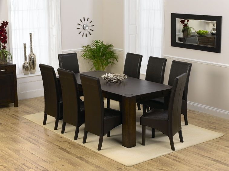 Turin Dark Dining Table 200Cm & 8 Savanna Dark Oak With Brown Faux Cool Brown Dining Room Table Design Decoration