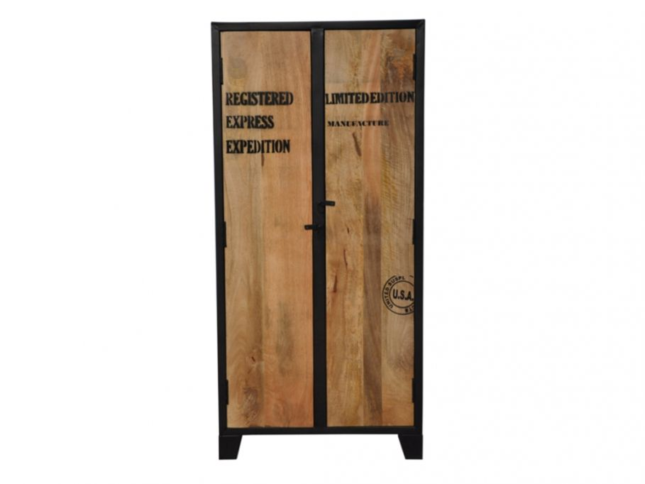 armoire 2 portes en bois de manguier et fer lilian. Black Bedroom Furniture Sets. Home Design Ideas