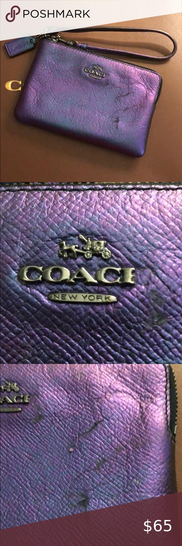 Coach Corner Zip in Hologram Leather Coach Corner