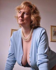 Blonde mature big saggy tits