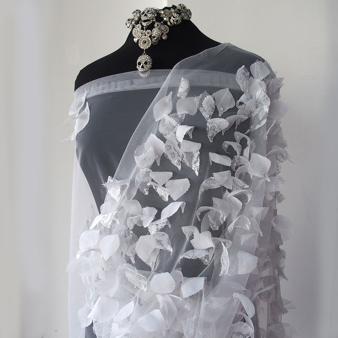 White Bridal Lace Fabric Tulle With Laser Cut 3D Flowers Leaves Silver Pearls