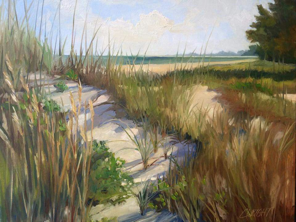 Cory Wright oil painting landscape beach sand dunes grass ...