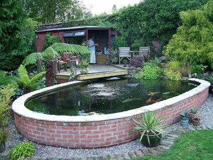 Above ground brick koi pond cosas carpas koi koi y for Above ground koi pond design