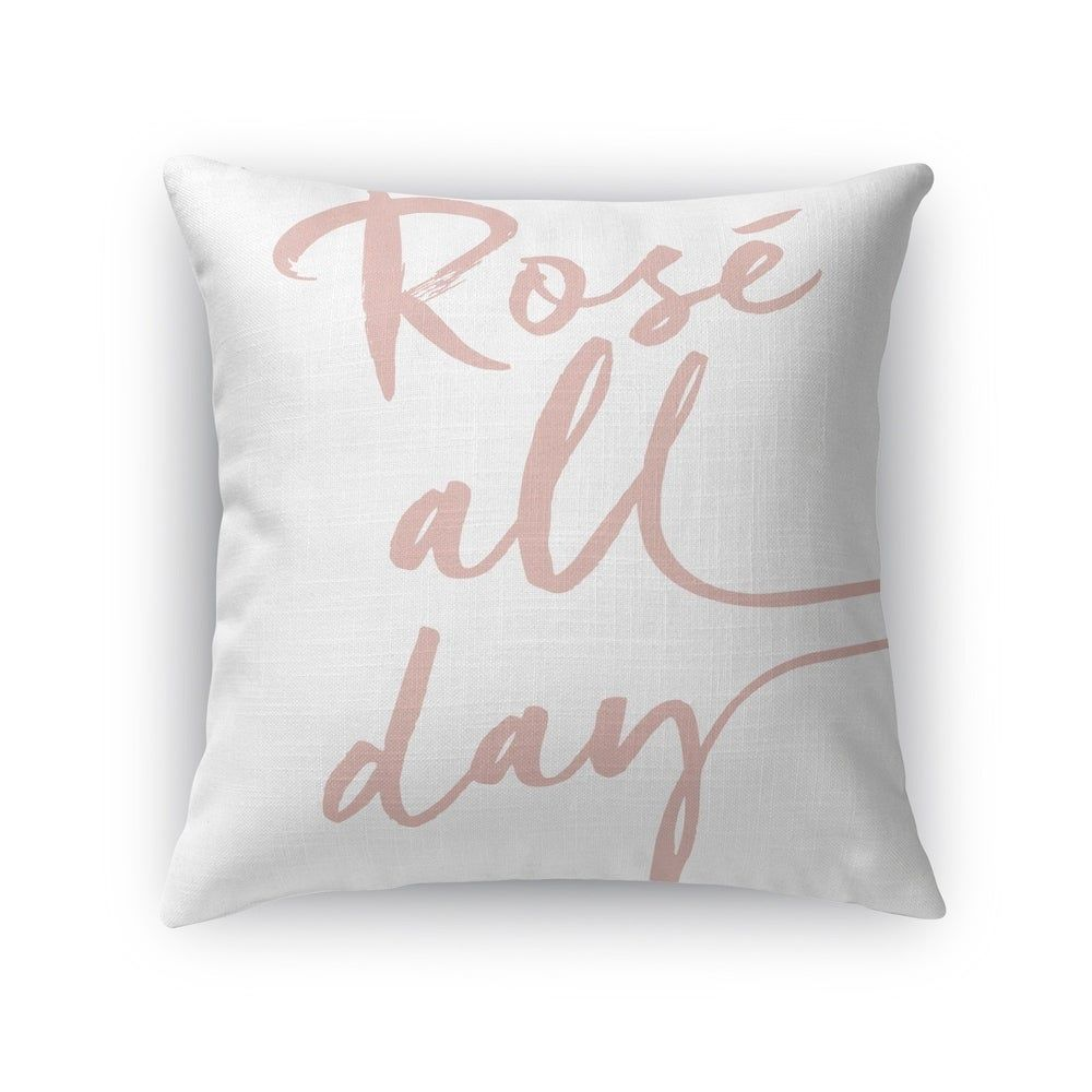 Kavka Designs white rose all day accent pillow with insert (16X16)(Polyester, Quotes & Sayings)