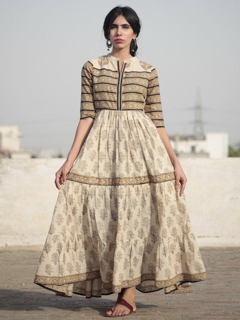 Beige mustard black hand block printed long cotton tier dress with
