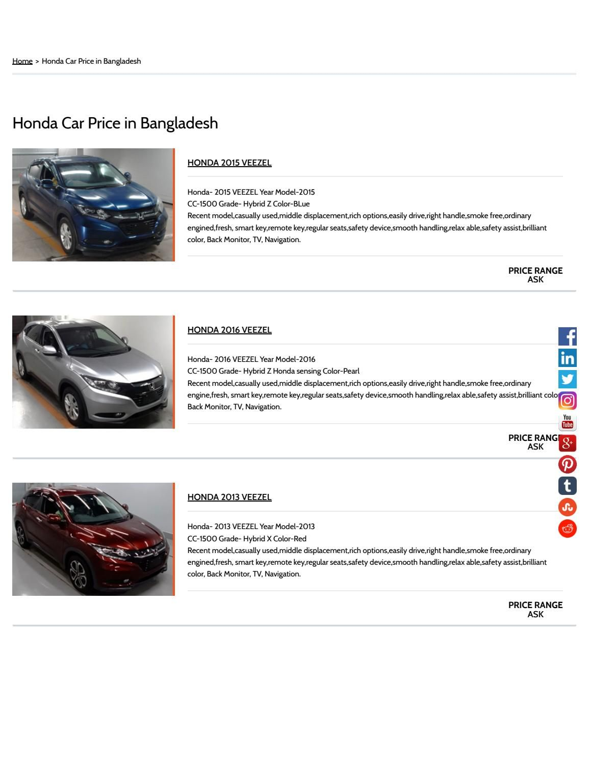 Honda Car Price In Bangladesh