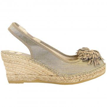 bfdc895a49b Esma mid wedge peep toe sling back espadrilles in gold taupe ...