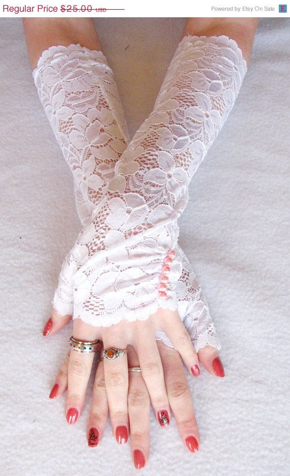 Lace Fingerless Gloves pearls  Long Gloves by SeamstressbytheSea, pink pearls