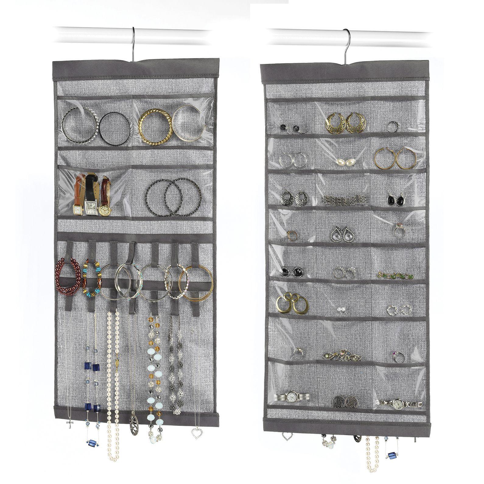 Whitmor 62834895 135 W X 285 H Grey Hanging Jewelry Organizer