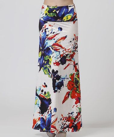 Another great find on #zulily! Ivory & Red Floral Maxi Skirt - Women #zulilyfinds