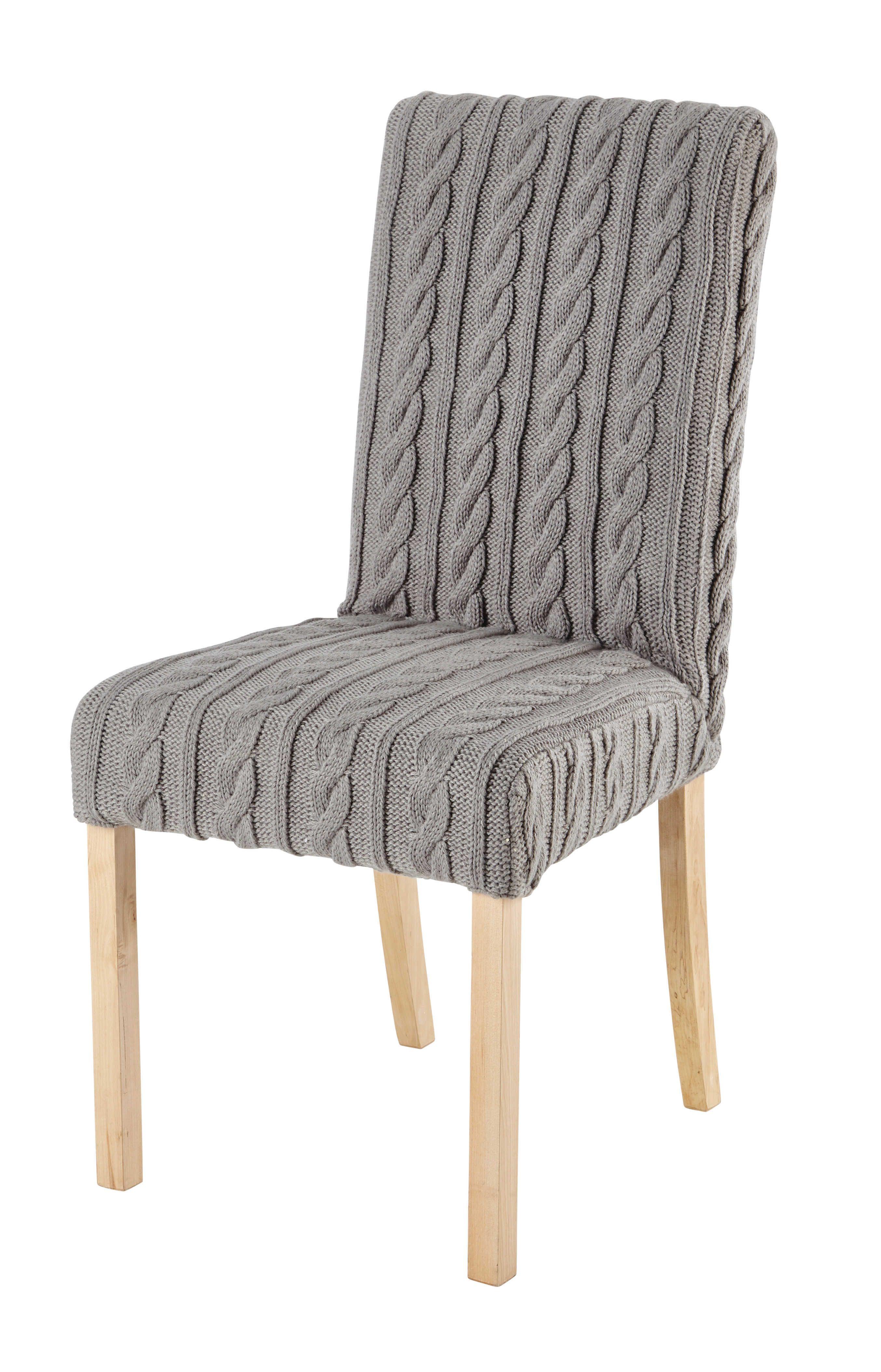 housse de chaise tricot e grise margaux d co interieur. Black Bedroom Furniture Sets. Home Design Ideas