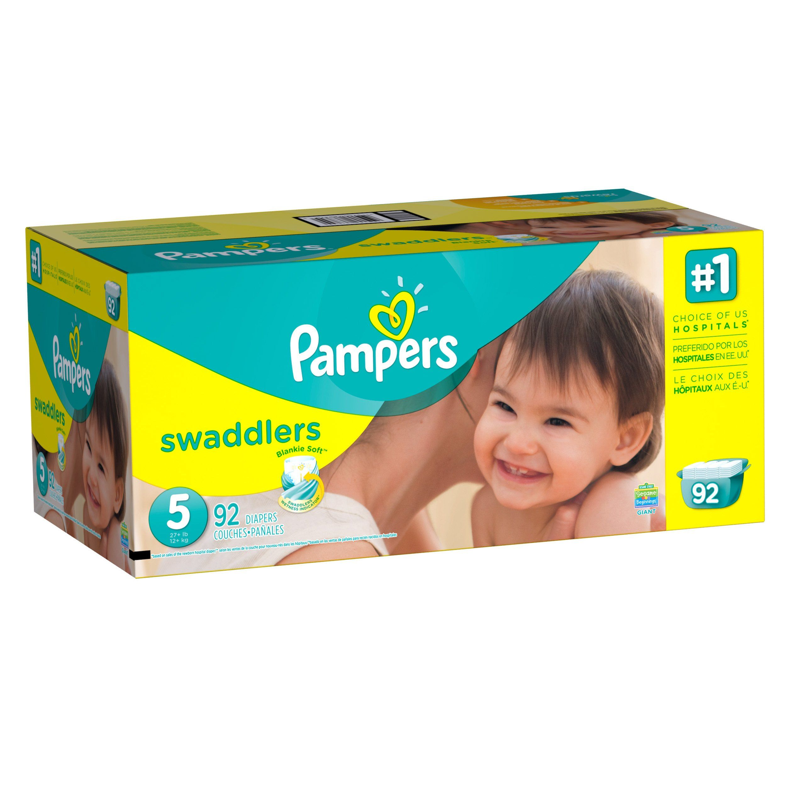 Pampers Swaddlers Disposable Diapers Size 5 92 Count GIANT ...