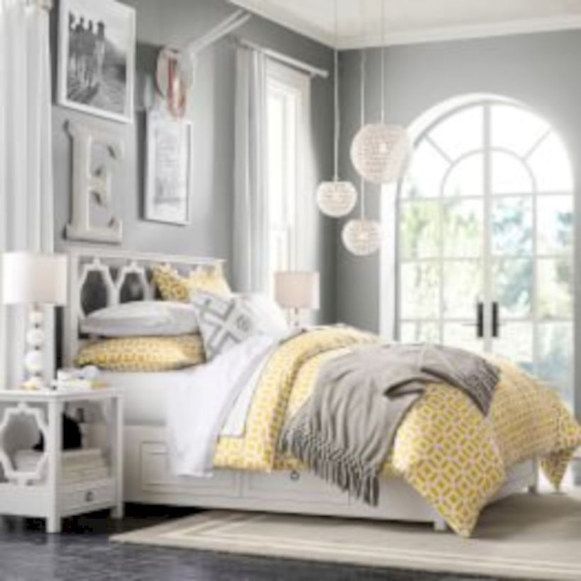 60 Visually Pleasant Yellow And Grey Bedroom Designs Ideas Roundecor Grey Bedroom Design Bedroom Lounge Furniture Yellow Room
