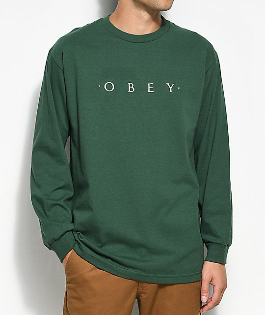 04831ab2 Obey Novel Forest Green Long Sleeve T-Shirt | Wearables | Green long ...