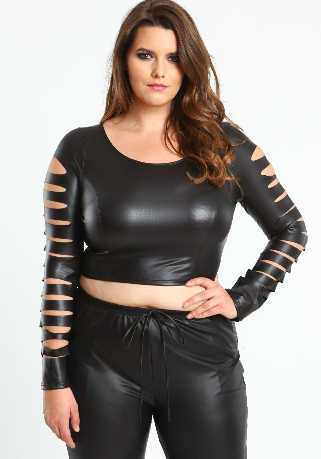 Plus Size Faux Leather Crop Top