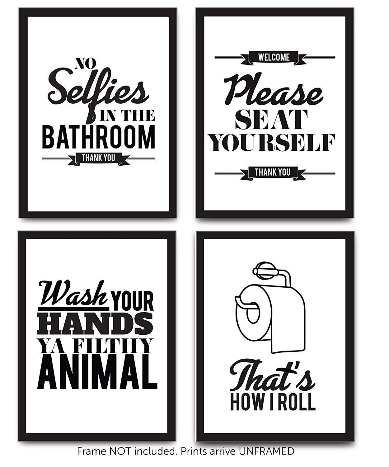 Clothes No House Elves Funny Bathroom Home Quote Gallery Wall Art Print Black