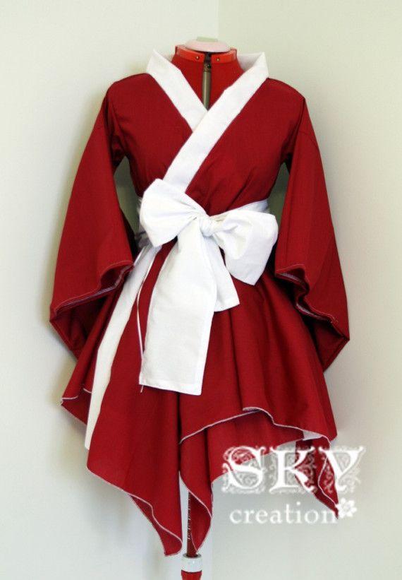 Red X White Kimono Dress with Asymmetric Hem | White kimono ...