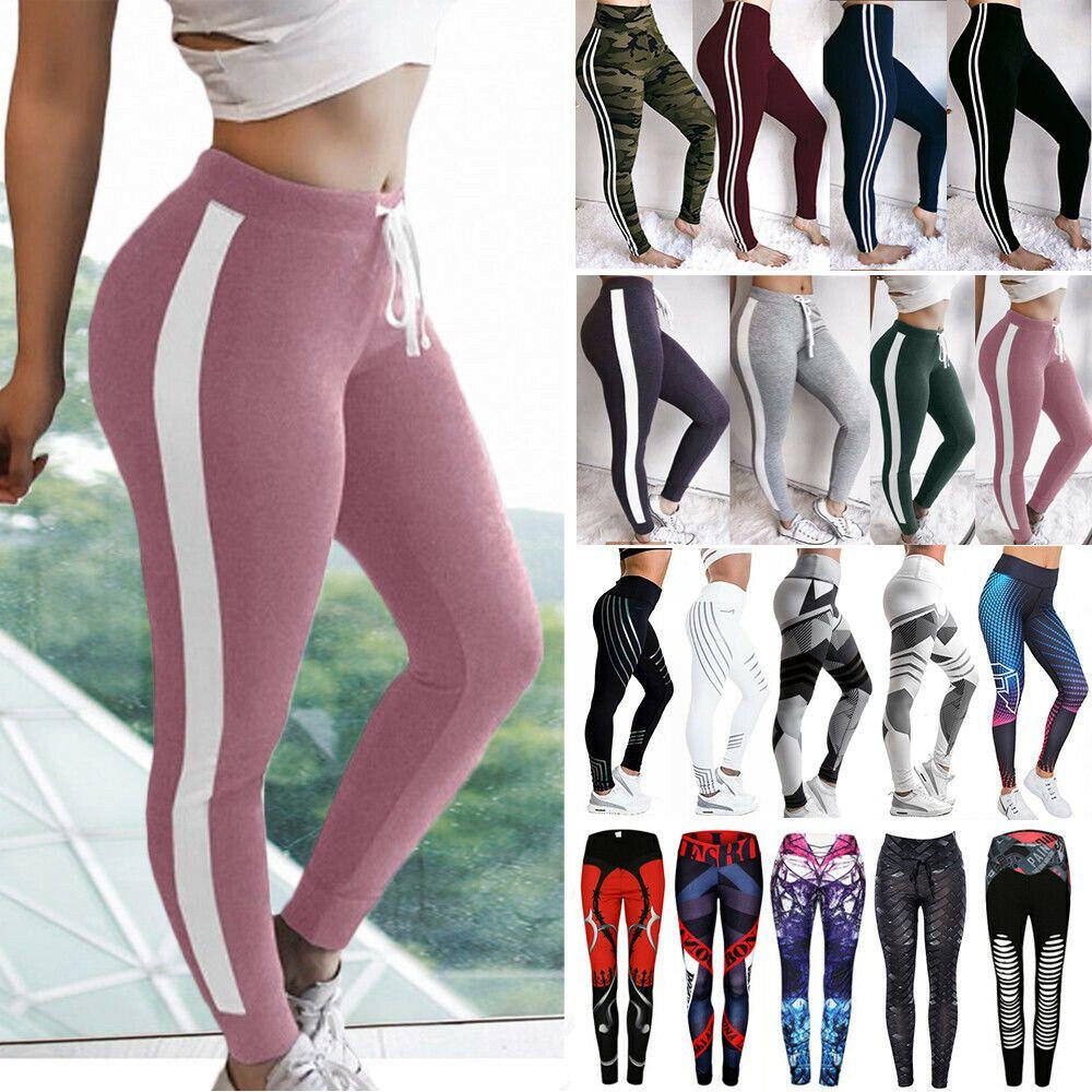 Women/'s High Waist Yoga Pants Print Sports Fitness Gym Stretch Leggings Trousers