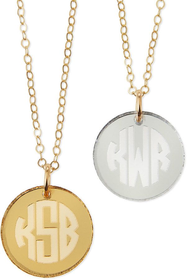 Moon & Lola Mirrored Acrylic Reverse Monogram Pendant Necklace ffoGDT