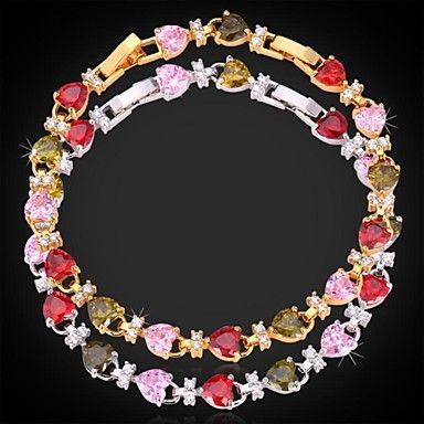 InStyle luksus aaa + zirconia kubik hjerter armbånd armring 18k guld platin forgyldt smykker af høj kvalitet 19cm justerbar – DKK kr. 68